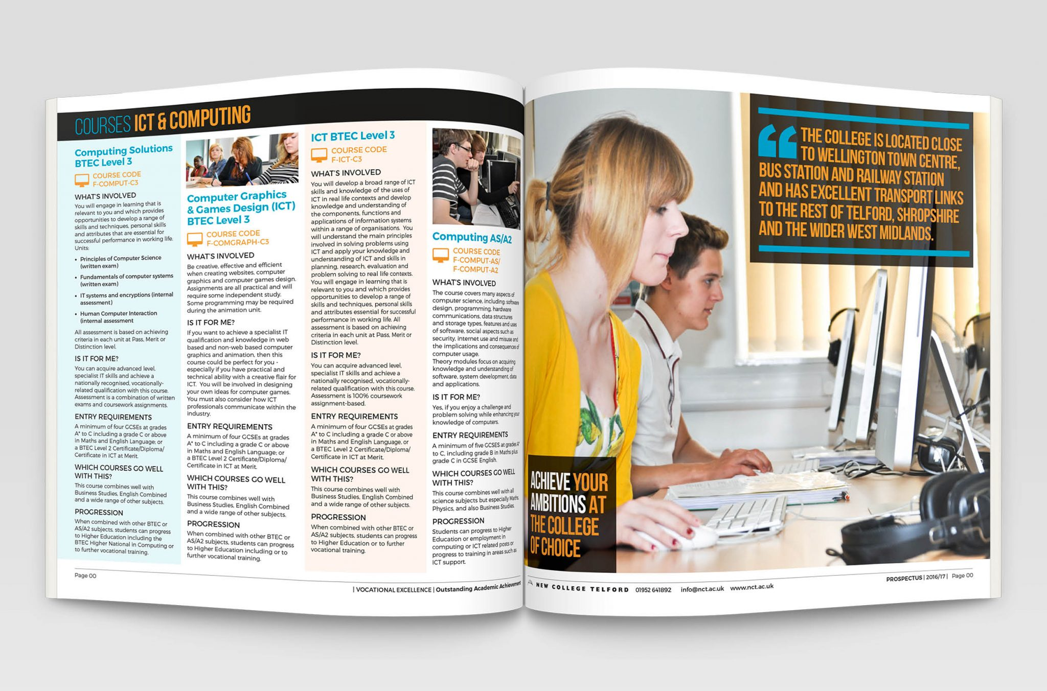 ew College prospectus inside spread design