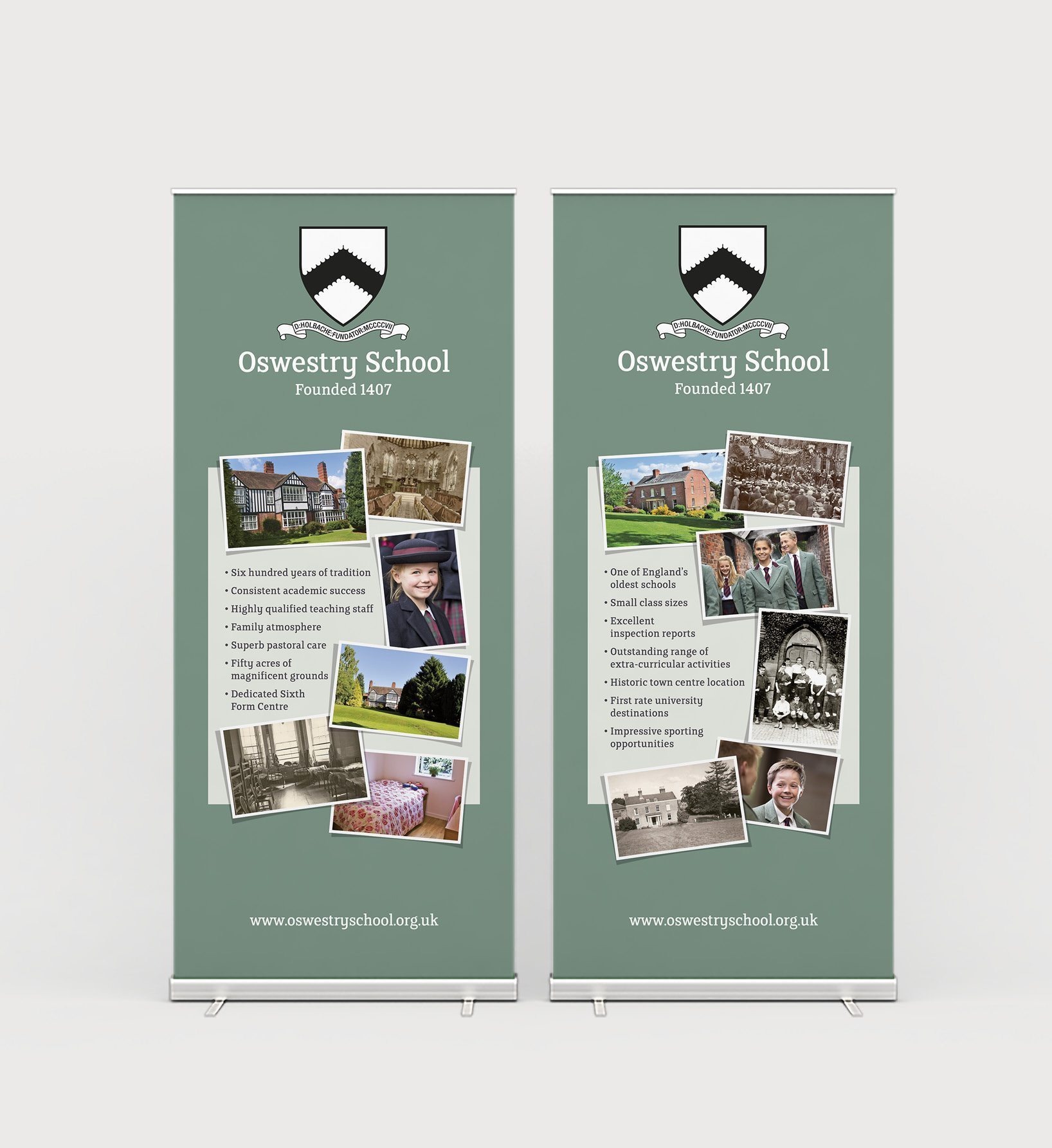 Owestery School roll up banner displays