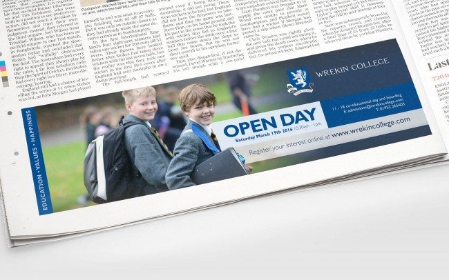 Wrekin College Open Day Advert Design